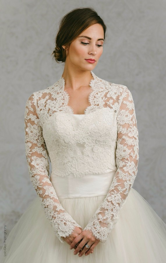 Long Sleeve Wedding Wrap Jacket White Ivory Lace Bridal Custom Made Bolero Accessories In Jackets From Weddings