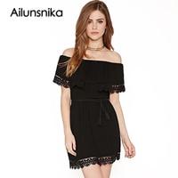 Ailunsnika 2017 Women Lace Short Sleeve Slash Neck Summer Dress Black White Elegant Office Party Dress