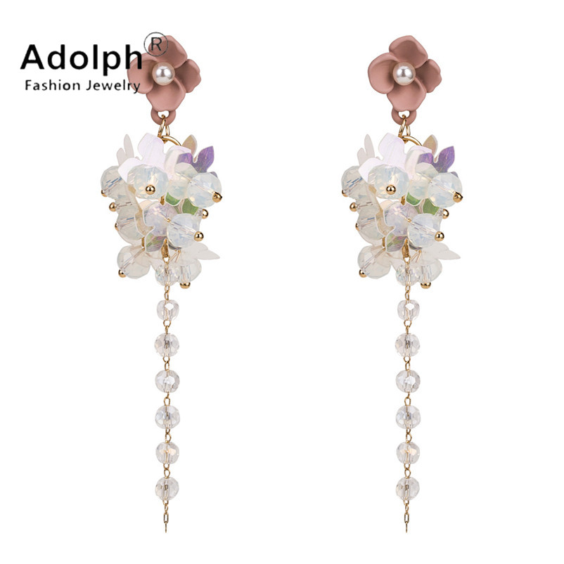adolph fashon star jewelry beads cystal flower stud earrig for woman long geometric tassel earrings stones accessories new femme