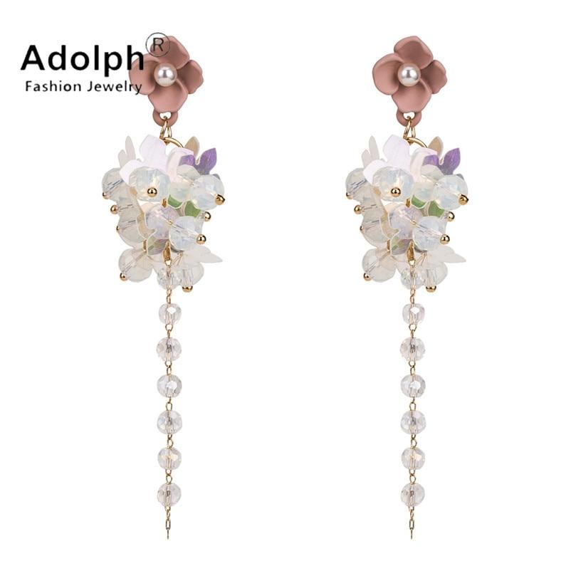 adolph fashon star jewelry beads cystal flower stud earrig for woman long geometric tass ...
