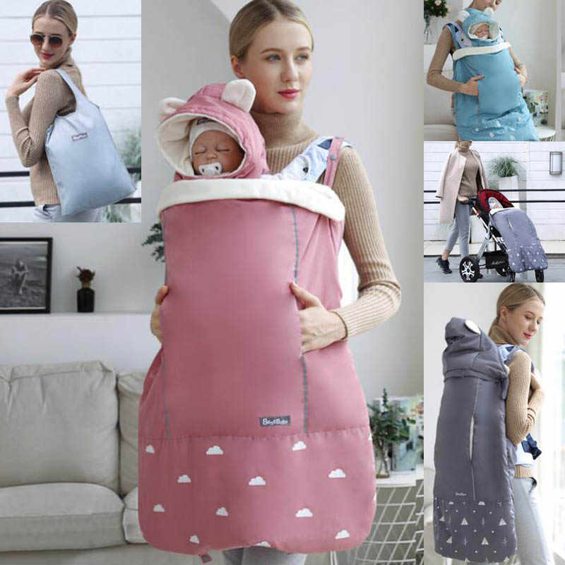 Warm Baby Carrier Cloak Mantle Cover Winter Kangaroo Infant Windproof Cloak Strap Hug Quilt For Waist Stool Stroller Accessories