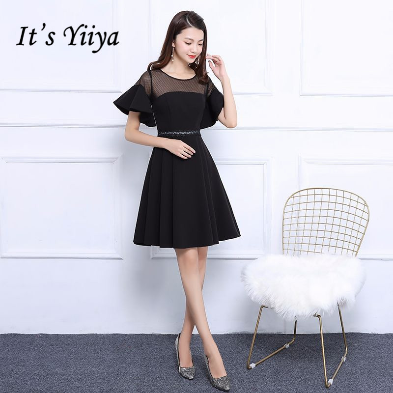 It's YiiYa Elegant Little Black Short Sleeve Ruffles   Cocktail     Dresses   Simple Appliques A-Line Formal   Dress   MX039
