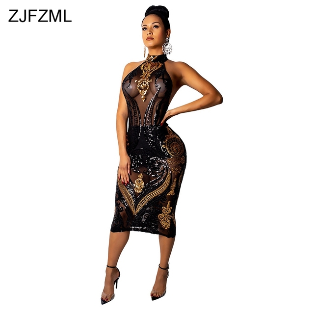 Glitter Sequins Sexy Bodycon Midi Dress Women Sheer Mesh Patchwork See  Through Party Dress Vintage Backless edd3286a7507