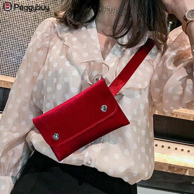 New Summer Women Simple Velvet Shoulder Waist Packs Bum Casual Belt Fanny Handbag Phone Pouch Ladies Solid Portable Shopping Bag