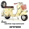 Vespa mini metal motorcycle model yellow flower Italy vintage motorcycle toy hot wheel Diecast metal model motorcycle