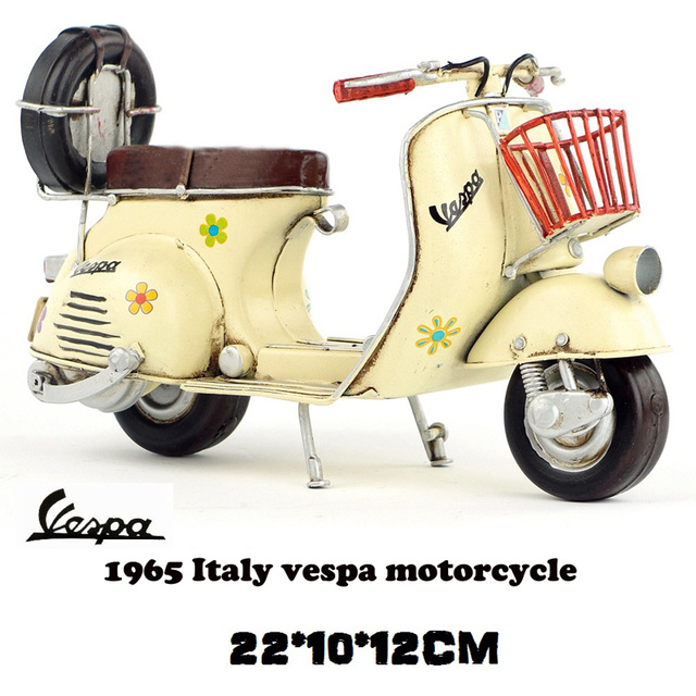 7e25ef59a9d Vespa mini metal motorcycle model yellow flower Italy vintage motorcycle  toy hot wheel Diecast metal model motorcycle