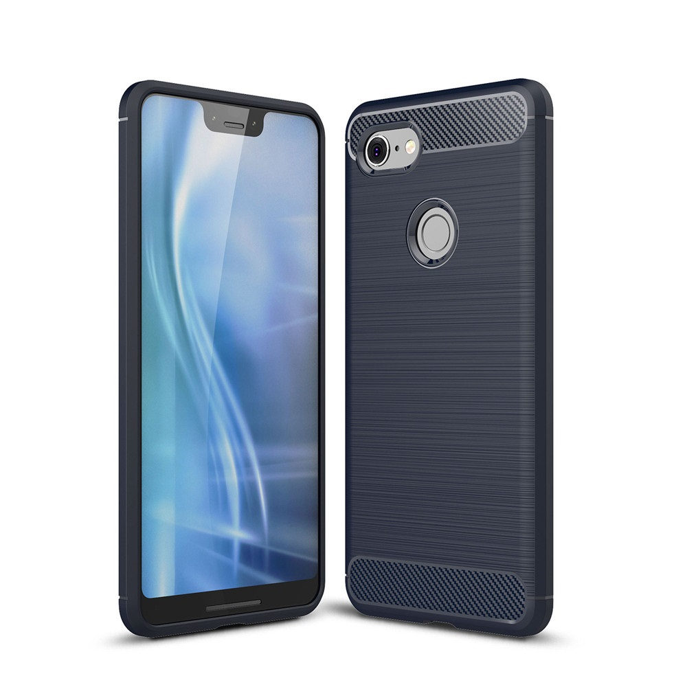 Carbon Fiber Brush Texture Soft TPU Case For Google Pixel 3 XL Slim Light Back Cover Shell Anti Fingerprint Scratch Non Slip