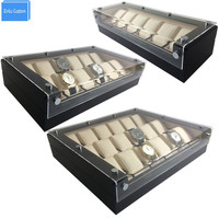 High luxury 6/12/18 Grids Lucency Acrylic Display Storage Watch Boxes Case Hour Wooden Black Leather Help Sale