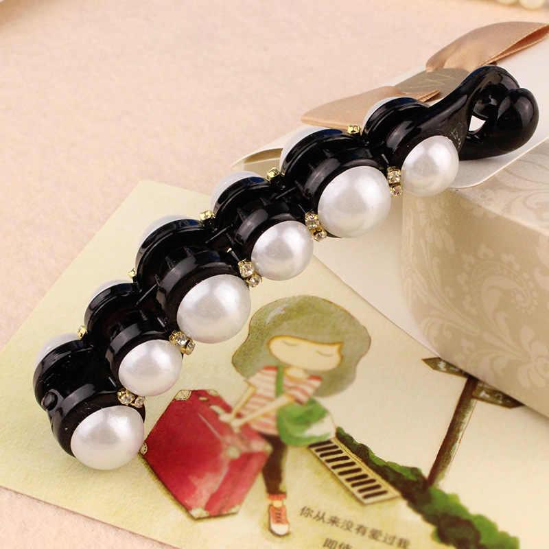 2019New moda Black Amber, duże perły spinki do włosów dla kobiet biżuteria Banana spinki akcesoria do włosów nakrycia głowy dziewczyna narzędzie do stylizacji włosów