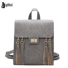 Highrealnew кисточкой женщины рюкзак черный из искусственной кожи школьный рюкзак женщин рюкзаки для девочки-подростка школьные сумки J31