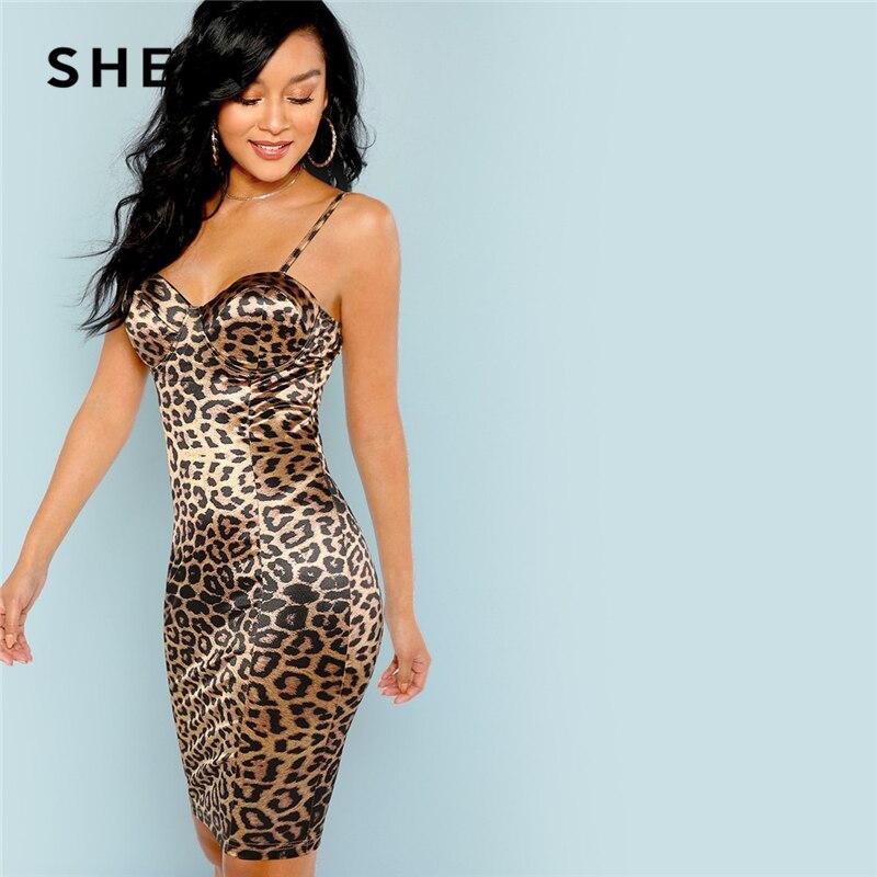 Шеин многоцветный пикантные Клубные леопардовым принтом бюстье естественная талия тощий Slip Cami платье Вечерние для женщин Короткие