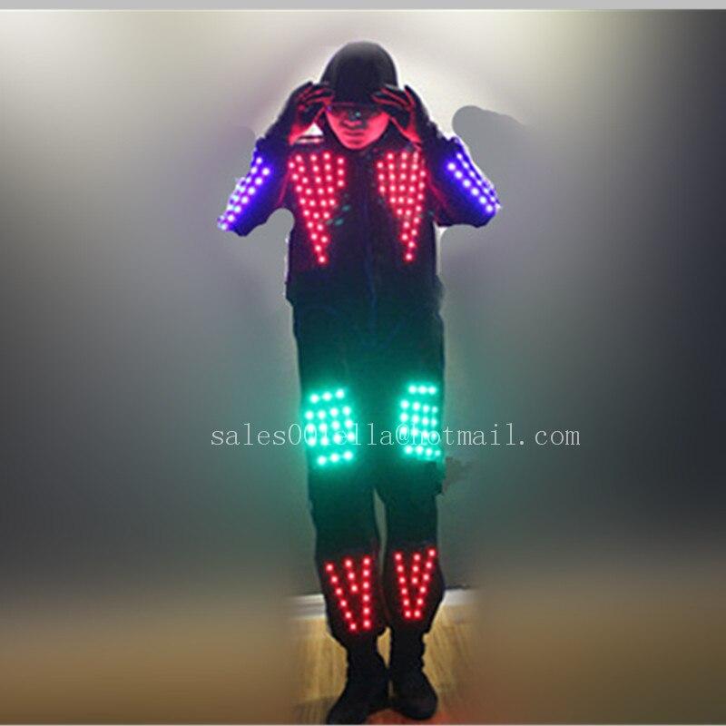 Cool RGB Color LED Growing font b Suits b font Robot Costume font b Men b