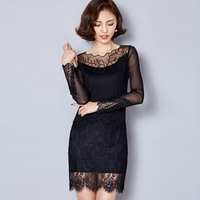 SZMXSS Embroidery Mesh Dresses Autumn New Women Black Lace Dress Plus Size S 3XL Long Sleeve