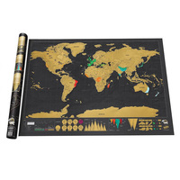 MOYLOR R Free Shipping World Map Scratch Around The World English Version Foreign Hot Wall Map
