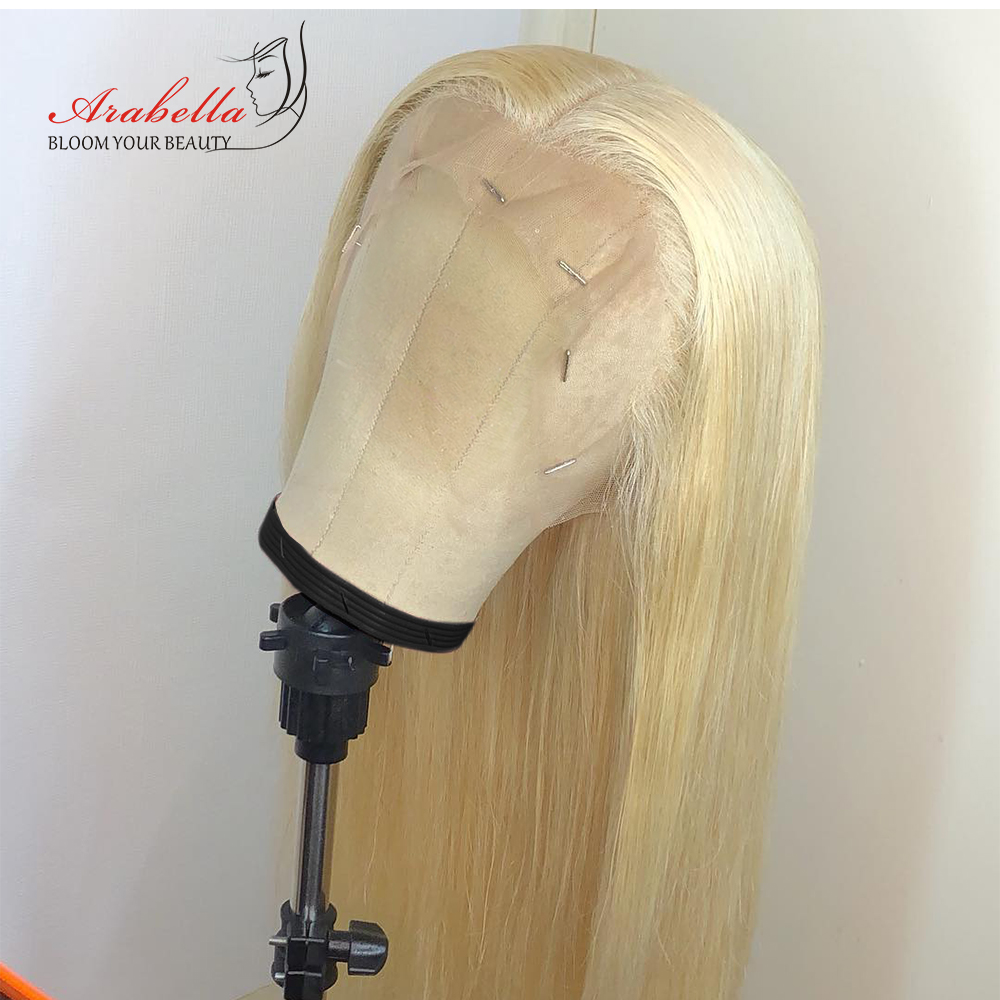 Blonde Lace Front Wig Brazilian Straight Remy Human Hair Wigs Arabella Pre Plukced Lace Front Wig