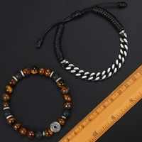 "Unique Natural Tiger Eye Stone Men's Beaded Bracelet Stainless Steel Cuban Link Chain Bracelets Male Gifts Dropshipping 8"" DLB68 2"