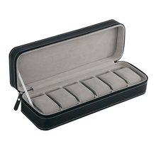 Портативный 6 слотов из искусственной кожи коробка для хранения часов Органайзер на молнии классический стиль многофункциональный Браслет Дисплей Чехол