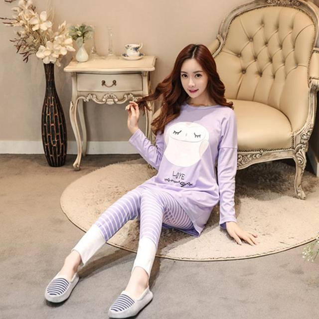 2016 Otoño Alrededor Del Cuello Pijama Feminino Pijama Casa Ropa Interior Pijama Pijamas Mujer ropa de Dormir