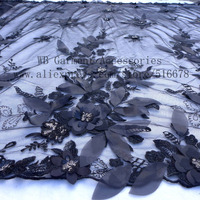 Hot Popular Black Chiffon 3d Flower With Sequins On Tulle Lace Fabric Stage Performance Clothes Evening