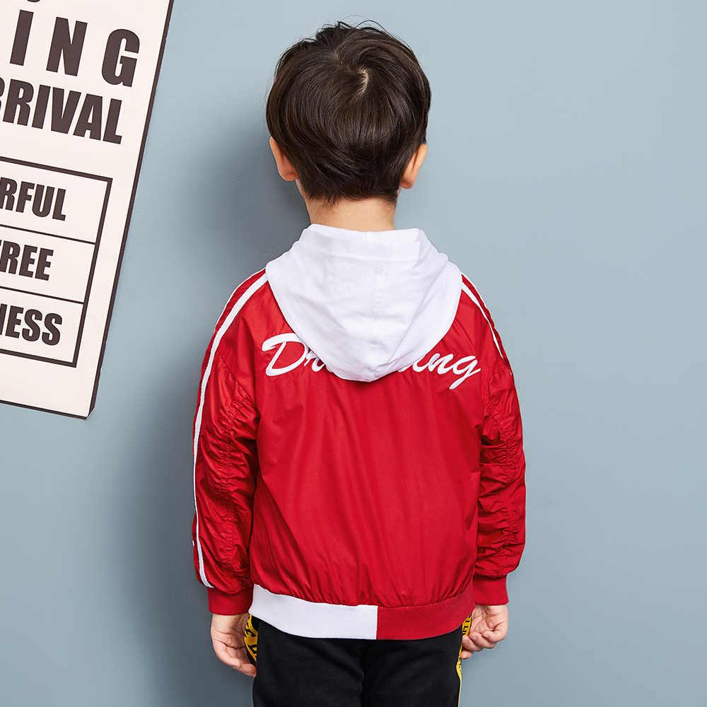 Balabala ילד פעוט צד פס מלא Zip הסווטשרט עטוף שרוול Hooed ילדי ילדים ילד ספורט מעילים עם ניגודיות הוד