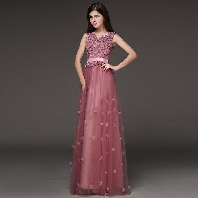 Long design evening dress 2015 spring red formal dress lace bridal ...