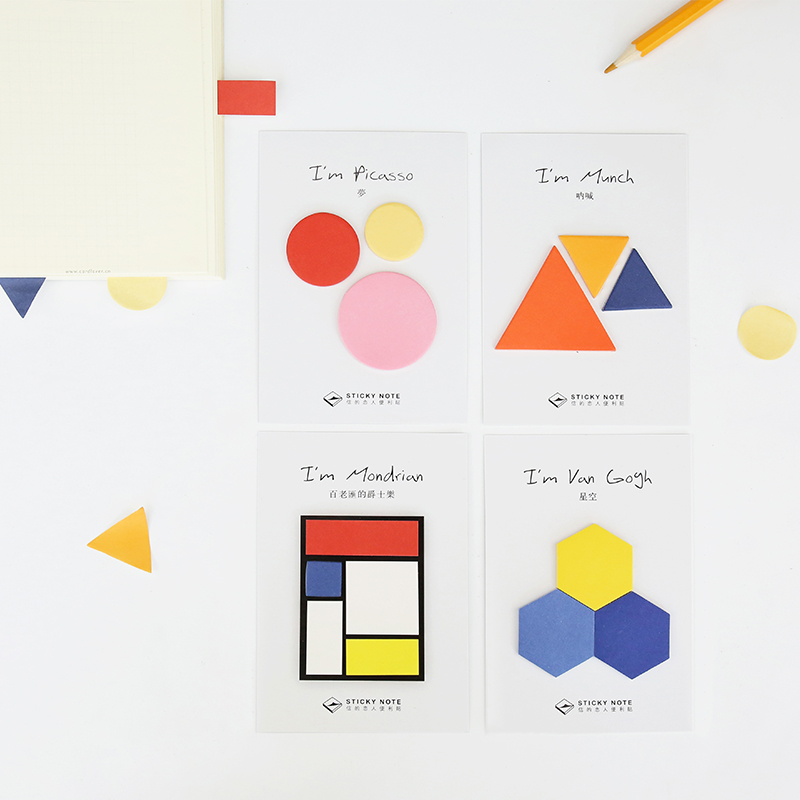 8 pcs Artist Editions sticky notes Geometry color post memo pad Painting sticker Scrapbooking Office School supplies A6690