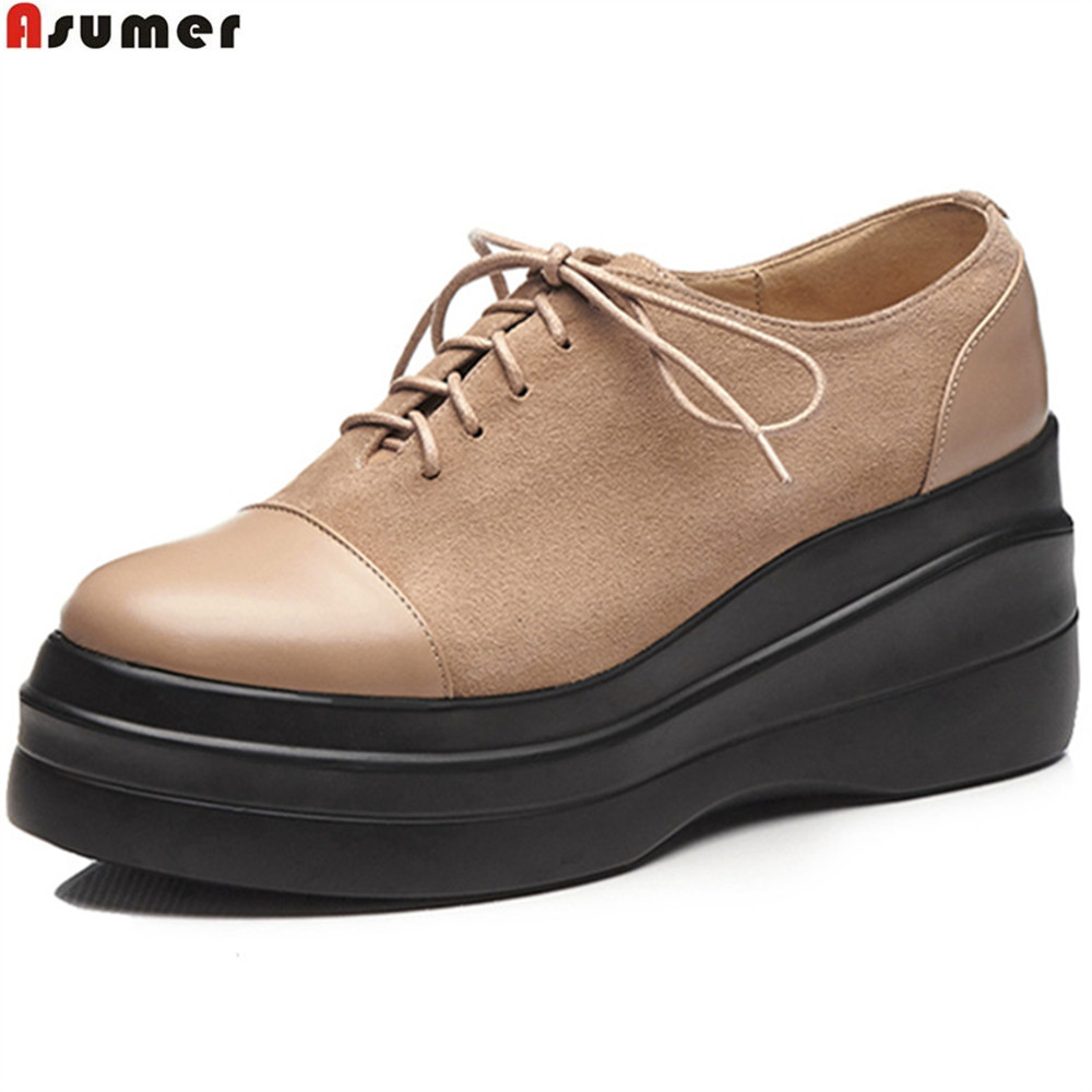 ASUMER black apricot fashion spring autumn new pumps shoes platform wedges shoes for woman genuine leather high heels shoes