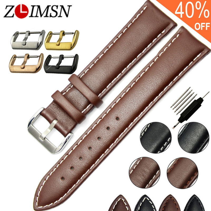 ZLIMSN Real Leather Watchband Black Brown Smooth Women's Watch Band 22mm 20mm Men's Genuine Leather Straps Belt Metal Pin Buckle цена