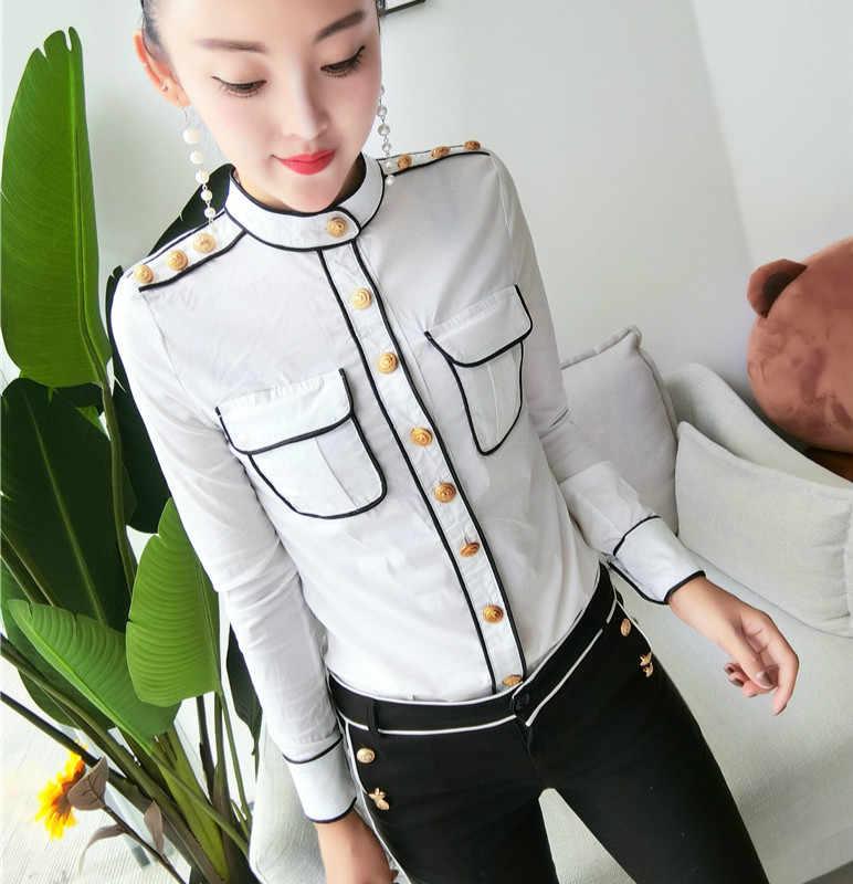 2018 秋のヴィンテージ長袖スタンド襟黒綿シャツ女性ゴールドボタンポケット綿ブラウス軍事軍トップス