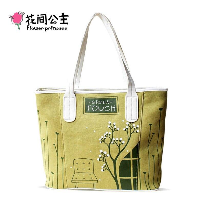 ФОТО Flower Princess Brand Ladies Handbags Women Casual Canvas Tote Hand Bags Girls Female Fashion Large Shoulder Bag Designer Bags