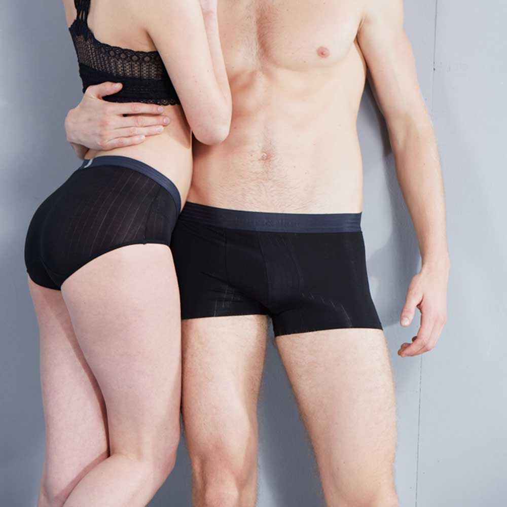 black solid sexy couple underwear cueca fashion Valentines Day Gift low-rise women underwear panties boxer Modal trunk shorts
