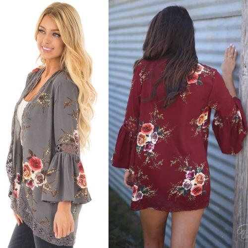 Women Summer Floral Lace Tops Open Front Coat Jacket Cardigans Long Sleeve Loose Wine Red Gray Print Jackets Beachwear