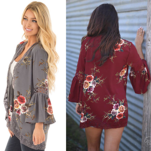 Women Summer Floral Lace Tops Open Front Coat Jacket Cardigans Long Sleeve Loose Wine Red Gray Print Jackets Beachwear