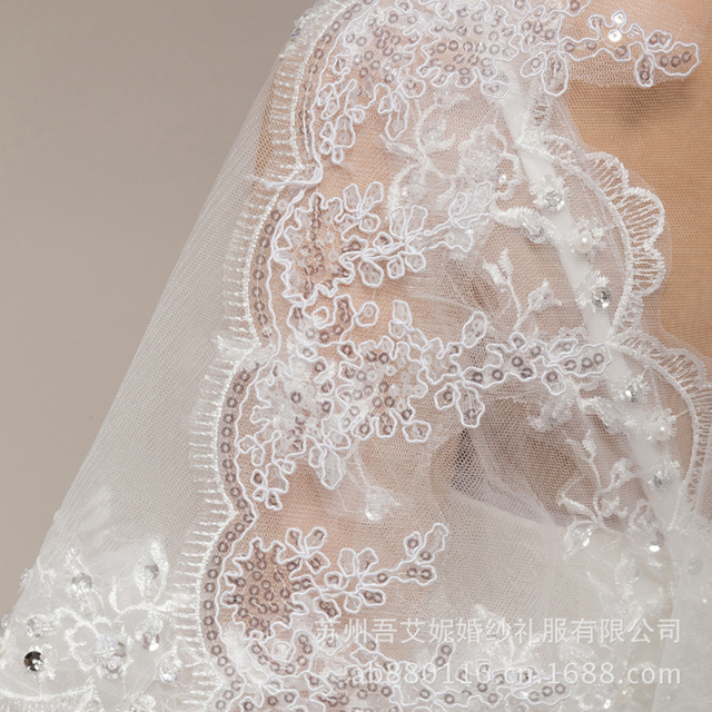 1T Wedding Accessories Bride Veils Long Cathedral  Ivory Elegant Lace Edge Long Wedding Veil Accessories