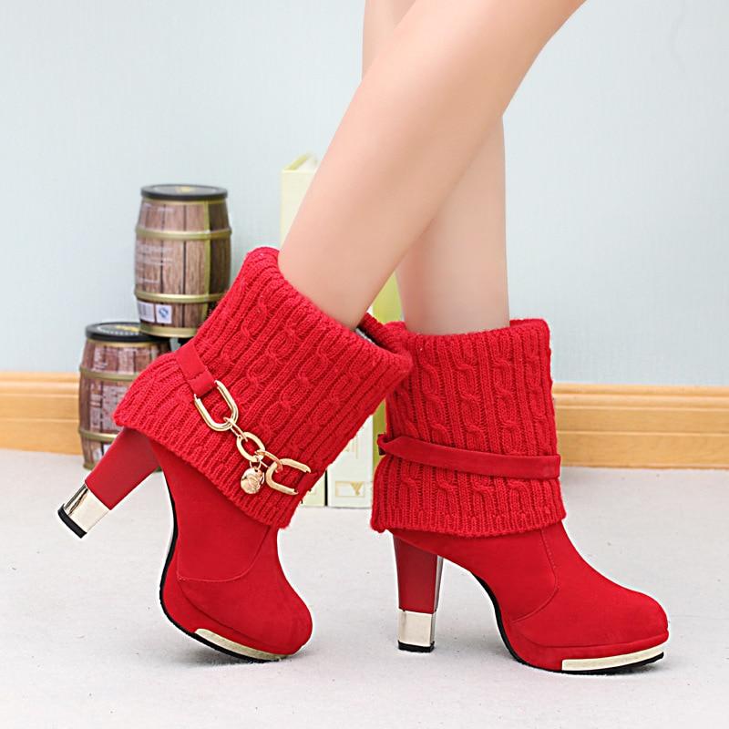 Lana Mujer Nuevo Con 2019 Gruesa De rojo En El Martin Alto Zapatos Negro Invierno Tacón Botas w44zqYd