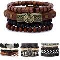 CCD New Fashion Leather Anchor Bracelets & bangle Men 3/4 pcs 1 Set Multilayer Bead Wristband Vintage Handmade Bracelet Pulseira