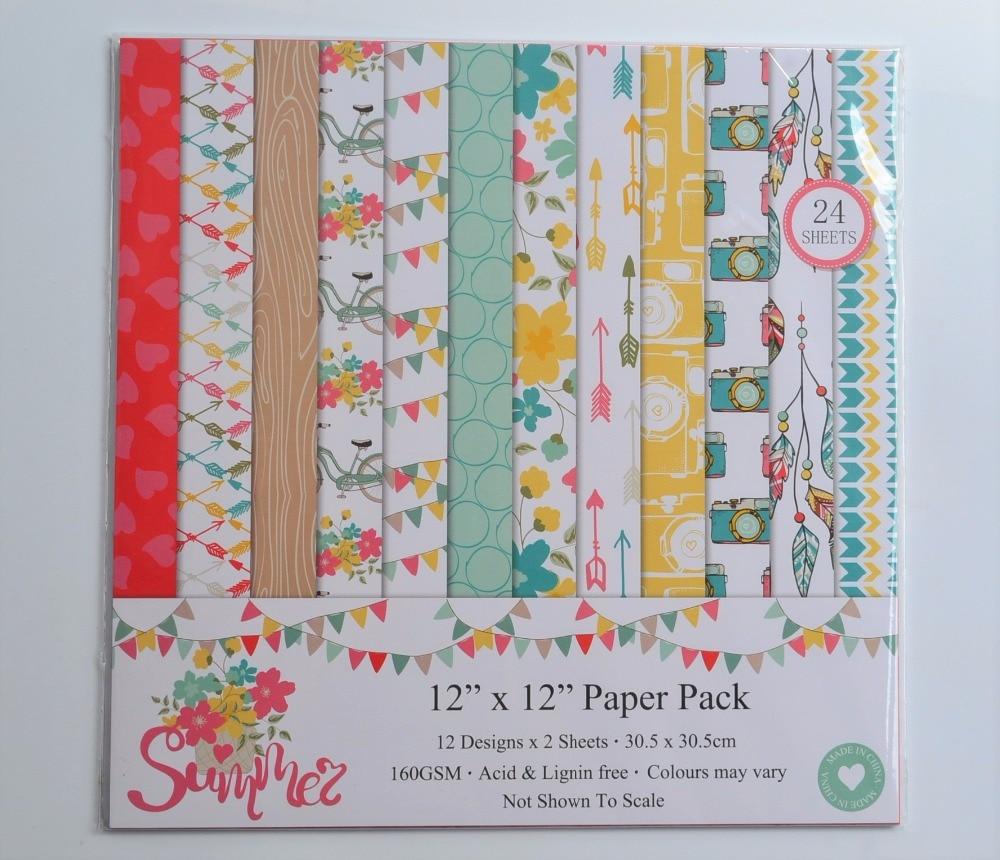 DIY Album Photo Scrapbooking set Summer Decorative Papers Craft paper  12inch X 12 inch  Single Side Printed 24 pcs/Set