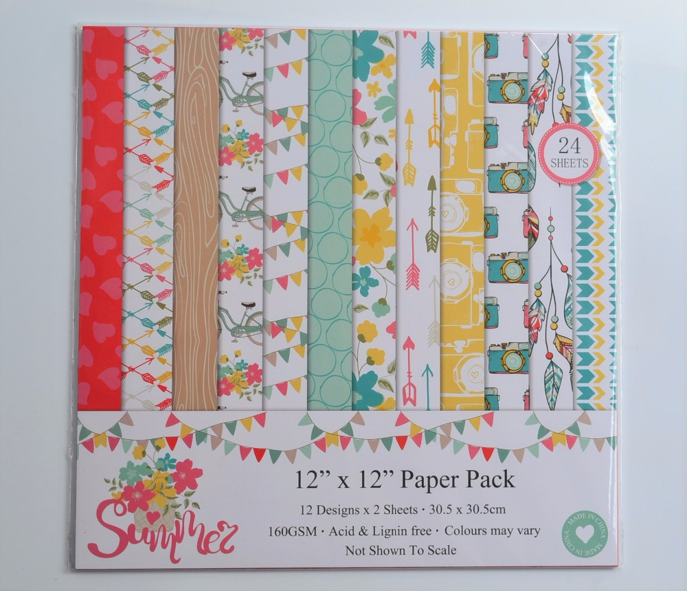 DIY Album Photo Scrapbooking set Summer Decorative Papers Craft paper 12inch X 12 inch Single Side Printed 24 pcs/Set image