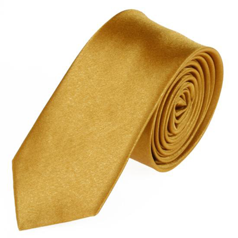 2018 Hot Sale New Mens Slim Skinny Solid Color Plain Satin Tie Necktie Men's Accessories Gold Color