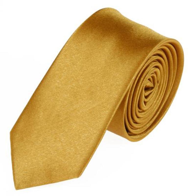 2018 Hot Sale New Mens Slim Skinny Solid Color Plain Satin Tie Necktie Men's Accessories Gold Color