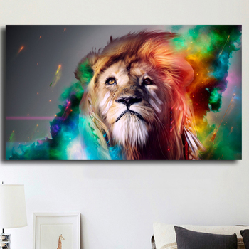 HD Image Abstract Colorful Lion Wall Art Oil Painting Canvas Prints Animal Paintings For Living Room Home Decoration Unframed image