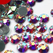 AAAAA+ высокое качество кристалл AB/кристально чистый DMC супер яркие стеклянные стразы исправленное железо на Стразы для ткани одежды/нейл-арта