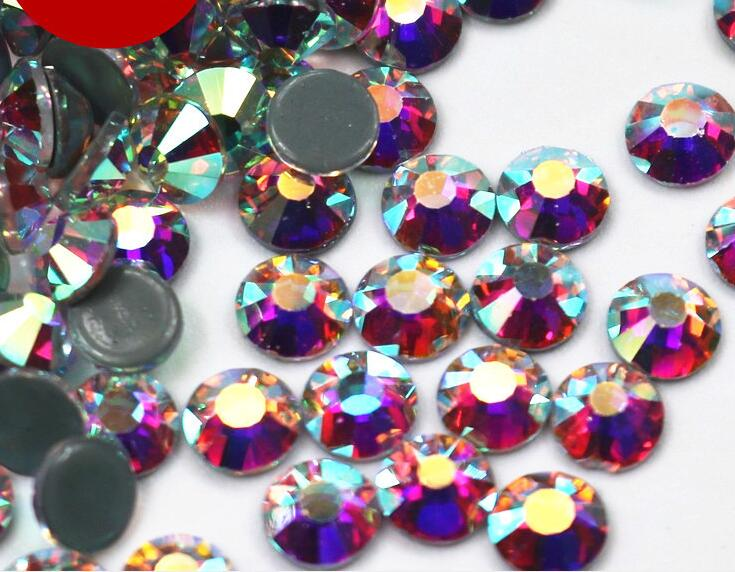 AAAAA + Top Quality Crystal AB / Crystal Clear DMC Super Bright Glass Strass Hotfix Besi Pada Rhinestones Untuk Fabric pakaian / Nail Art