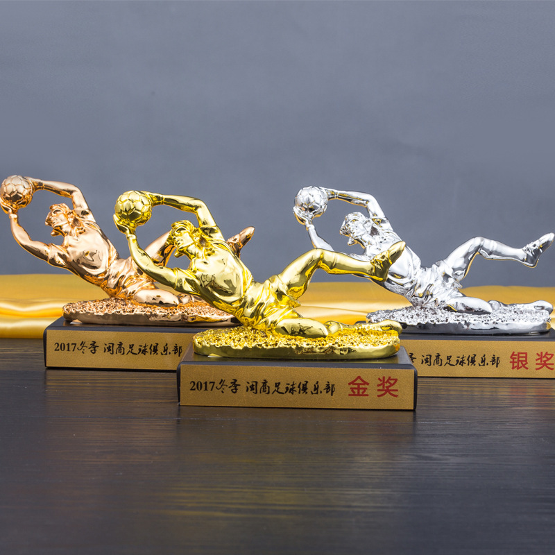 World Cup Resin Football Goalkeeper Trophy Sport Series Football Man Drawing Room Restaurant Resin Craftwork Decoration L2430 hot 2016 soccer goalkeeper golden trophy best goalkeeper trophy cup best goal keeper trophy award for goalkeeper gold color
