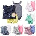 Ребенка bebes девочка одежда набор, летние дети новорожденный одежда 3 шт. набор рубашка + Соболезнуем пояса + шорты casaco infantil