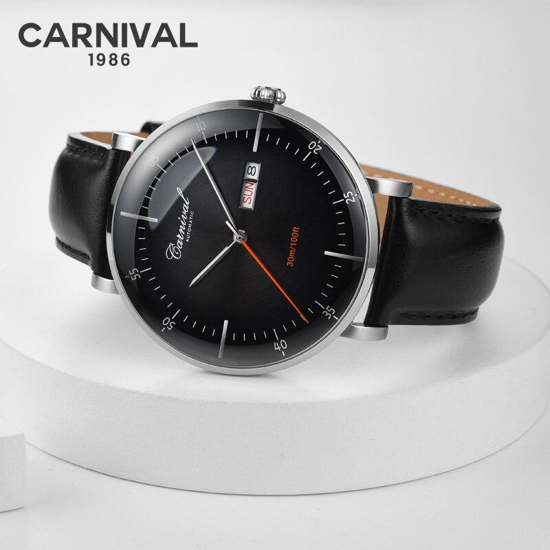 Moda Ultra fino Relógio Real CARNAVAL Automático High end homens Mecânicos do Relógio Semana Calendário Pulseira De Couro de Safira À Prova D' Água
