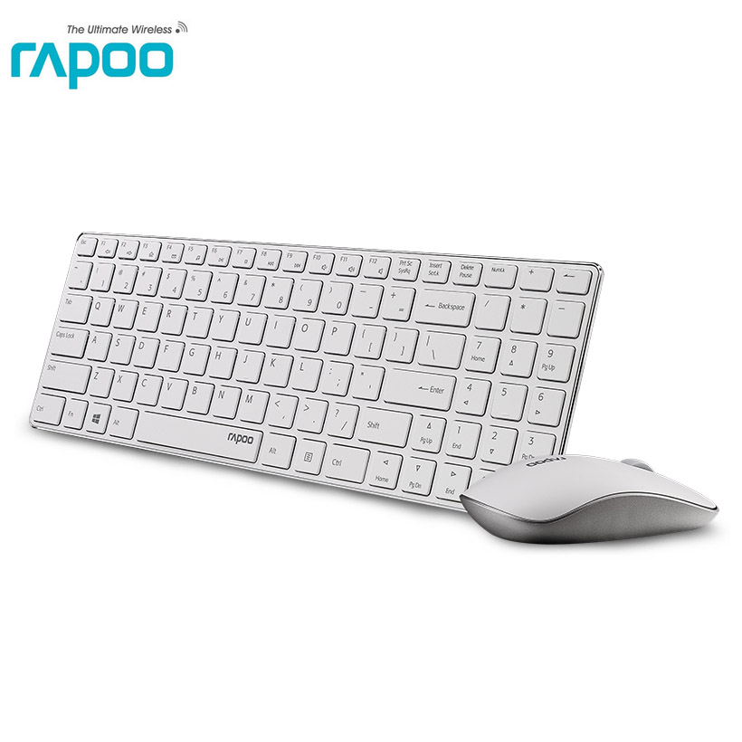 rapoo 9300p ultra thin optical wireless keyboard and mouse combo kit for apple pc laptop. Black Bedroom Furniture Sets. Home Design Ideas