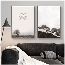 Nordic Snow Mountain Wall Art Canvas Posters And Prints Landscape Painting Pictures For Living Room Decor