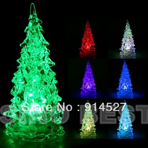 Lead Free Christmas Trees: Free Shipping Mini LED Crystal Christmas Trees 7 Colored