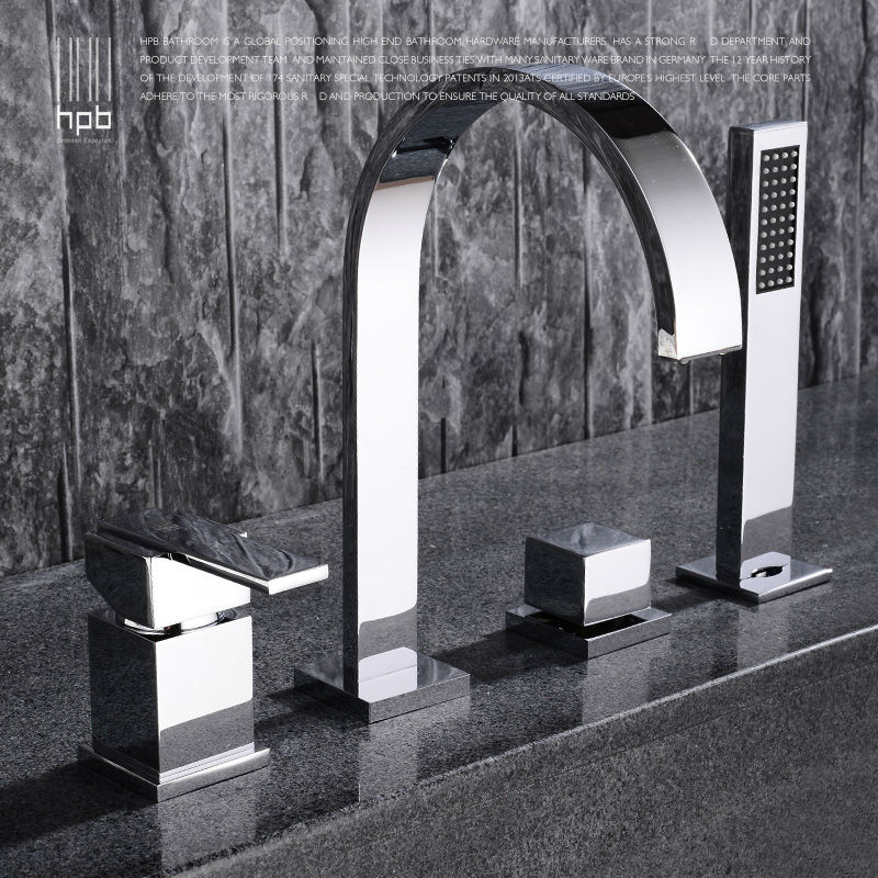 HPB Brass Hot and Cold Water Bathroom Shower Faucet Deck Mounted Bathtub Mixer Bath Set torneira banheiro chuveiro HP5305